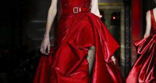 صورة فستان احمر منفوش , فساتين ب , لون الحب