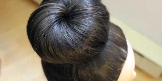 صورة عمل كعكة الشعر , تسريحه سهله للشعر
